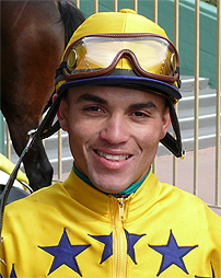 Jockey Joel Rosario on #7 Dirt Diver chased down favorite Jamison in the stretch