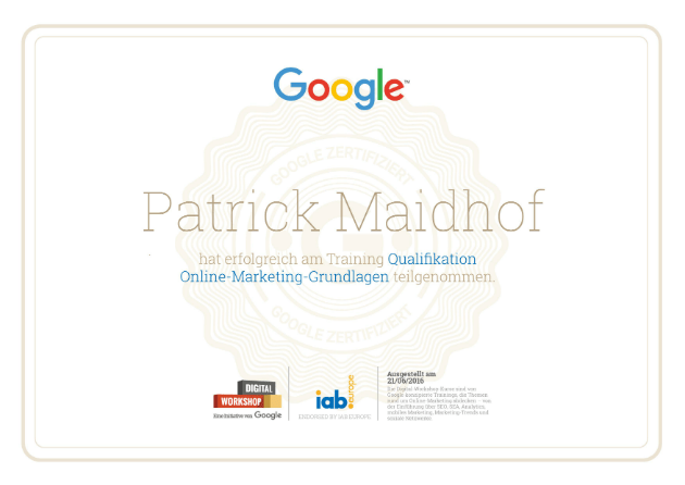 Google Online Marketing Zertifikat Patrick Maidhof