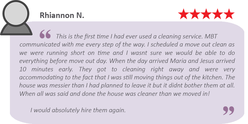 House cleaning review by Rhiannon