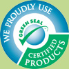 Green Seal logo used by house cleaning service on homepage.