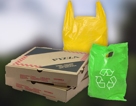 Recycling pizza box and plastic bags