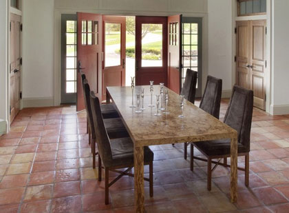 Dining room setting with Saltillo tile floors