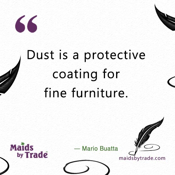 Dust is a protective coating for fine furniture. — Mario Buatta