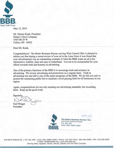 Better Business Bureau Lima Ohio : better, business, bureau, Denny's, Company, Celina, Ohio!, Better, Business, Bureau, Letter