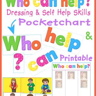 Who can help? Button, Zip, Tie, Pocketchart and Printable