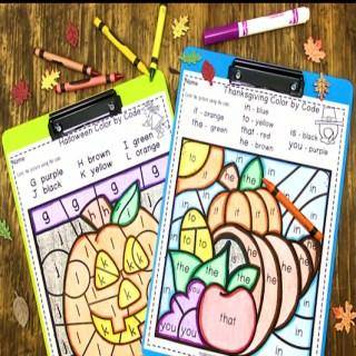 Kindergarten Seasonal Color by Code Skills Pack