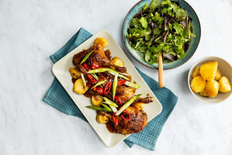Asian Style Duck with crispy potatoes