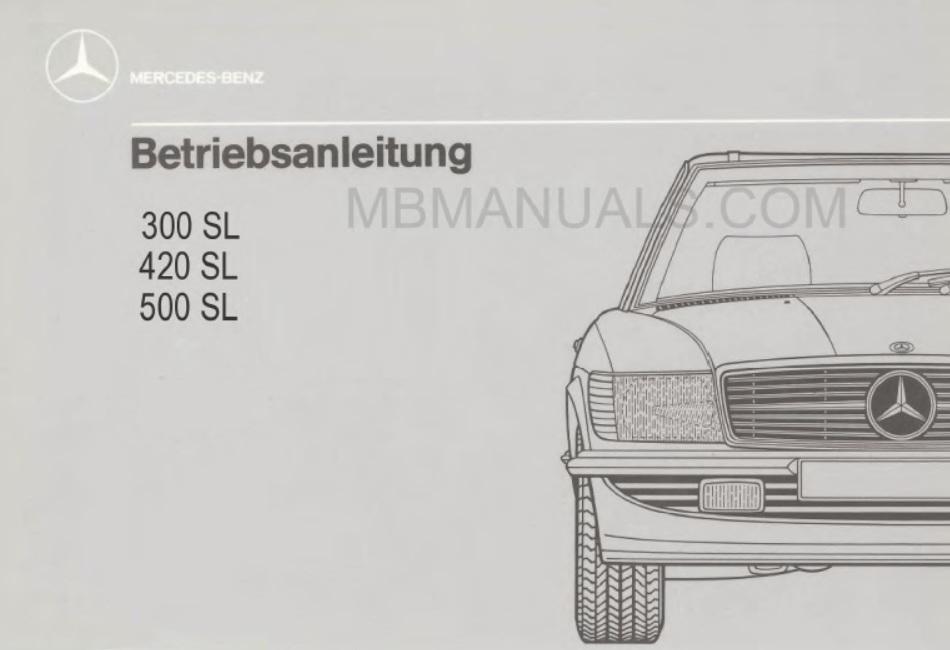 Mercedes Benz Series 107 Owners Operators Manuals