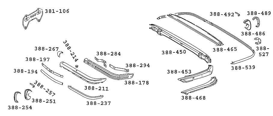 Mercedes Benz 107 SL SLC Roadster Parts Diagrams part Numbers