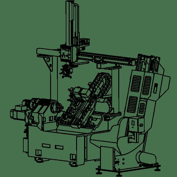 auto loading lathe, unmanned turning production, robotised