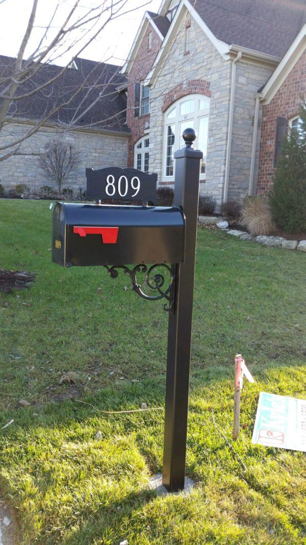 Iron Large Posts w/ estate design and cast address sign