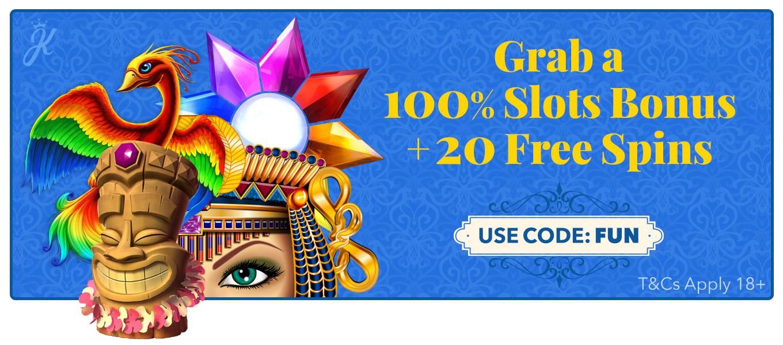 100% Slots bonus + 20 free spins