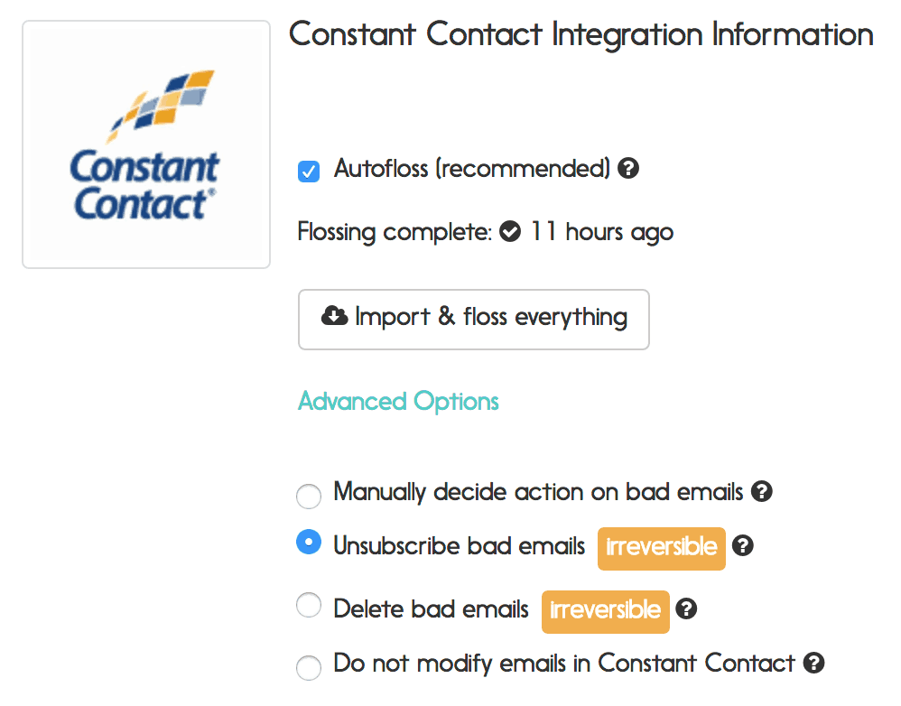 constant contact email verification options