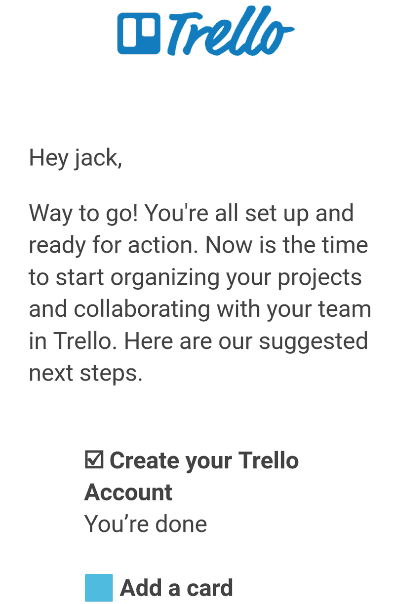 Trello's awesome welcome note