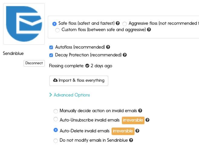 Sendinblue email verification options