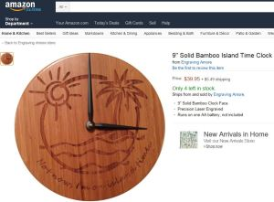 Screen shot of our Island Time Clock on Amazon.com