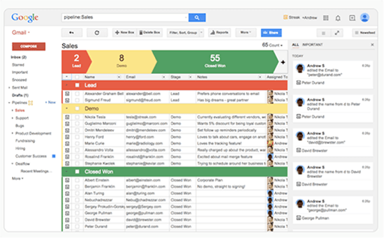 Screenshot of Streak used with Gmail