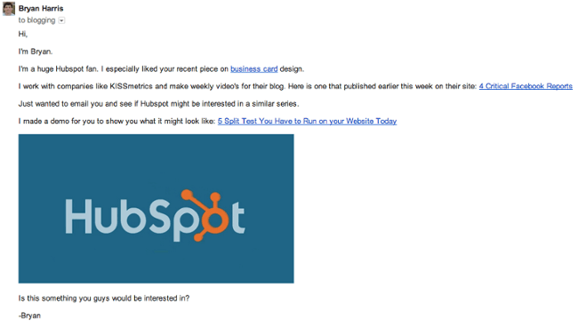 Here's another example of a pitch that HubSpot received