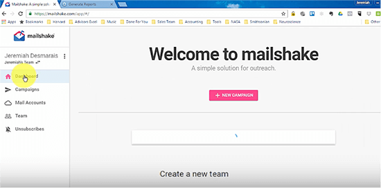 Mailshake new campaign screenshot