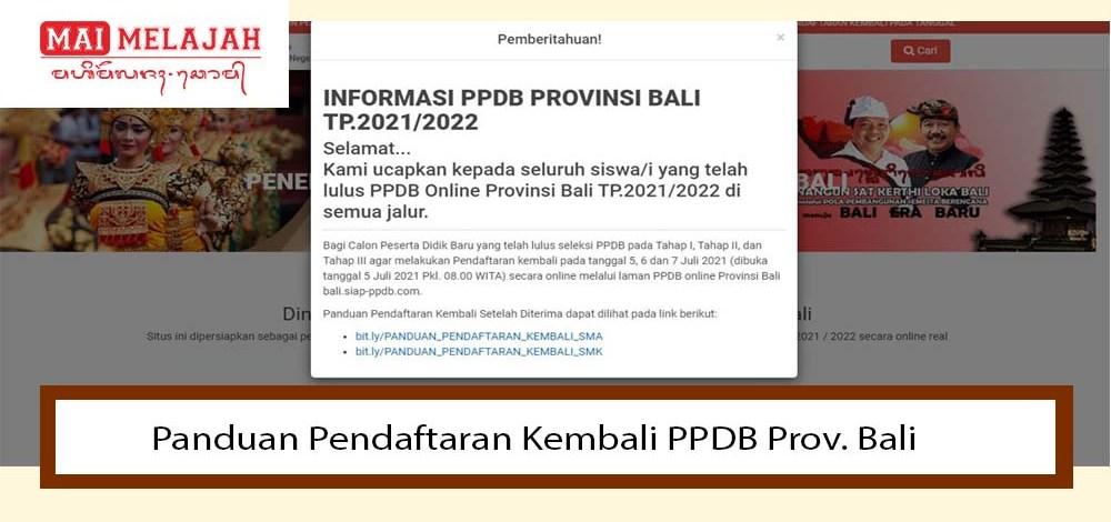 Panduan Pendaftaran Kembali PPDB Prov. Bali