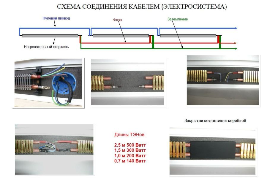 Схема соединения электрического теплого плинтуса