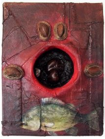 """Daniel Minter, """"Dream of Fish"""", assemblages from  'A Distant Holla' exhibit at the Abyssinian Meeting House, Portland"""