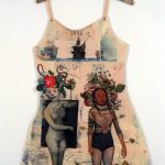"""Mj Viano Crowe, """"Arawak Woman"""", Drawing, painting, collage on paper, Dress Forms are life size, approximately 2' w x 3'.5""""h, some on hand-made hangers, 2000"""