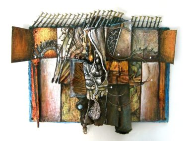 "Sherrill Hunnibell ""Valhalla  (Book of Hours #95)"" ,mixed media with altered book, 8""x10.5"", 2002"