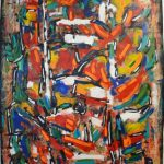 "David Driskell, Accent of Autumn, Acrylic and Mixed Media on handmade paper, 42.25"" x 30"""