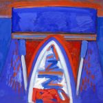 William Kienbusch , Rowboat to Island #2, 1973, Casein on paper, 32¼ x 40½, Collection of the Farnsworth Art Museum, Rockland, Maine; Museum Purchase, 1996.11