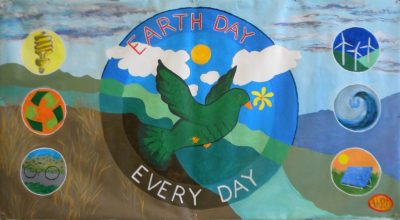 Banner created in March for Earth Day in Bangor in collaboration with Americorp Workers.