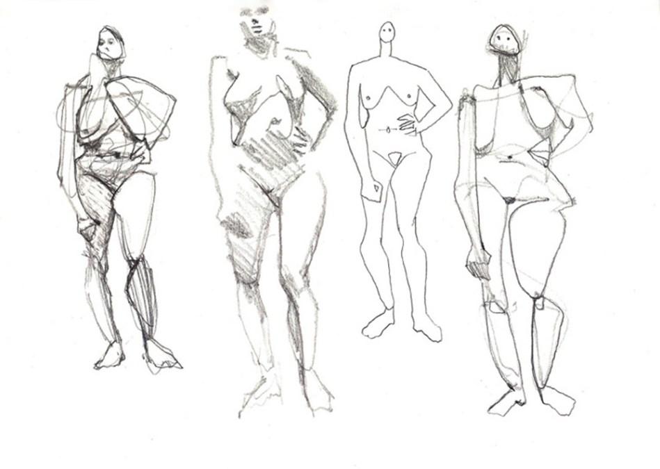 Estey 3 Sketchbook 73 Four Standing Nudes