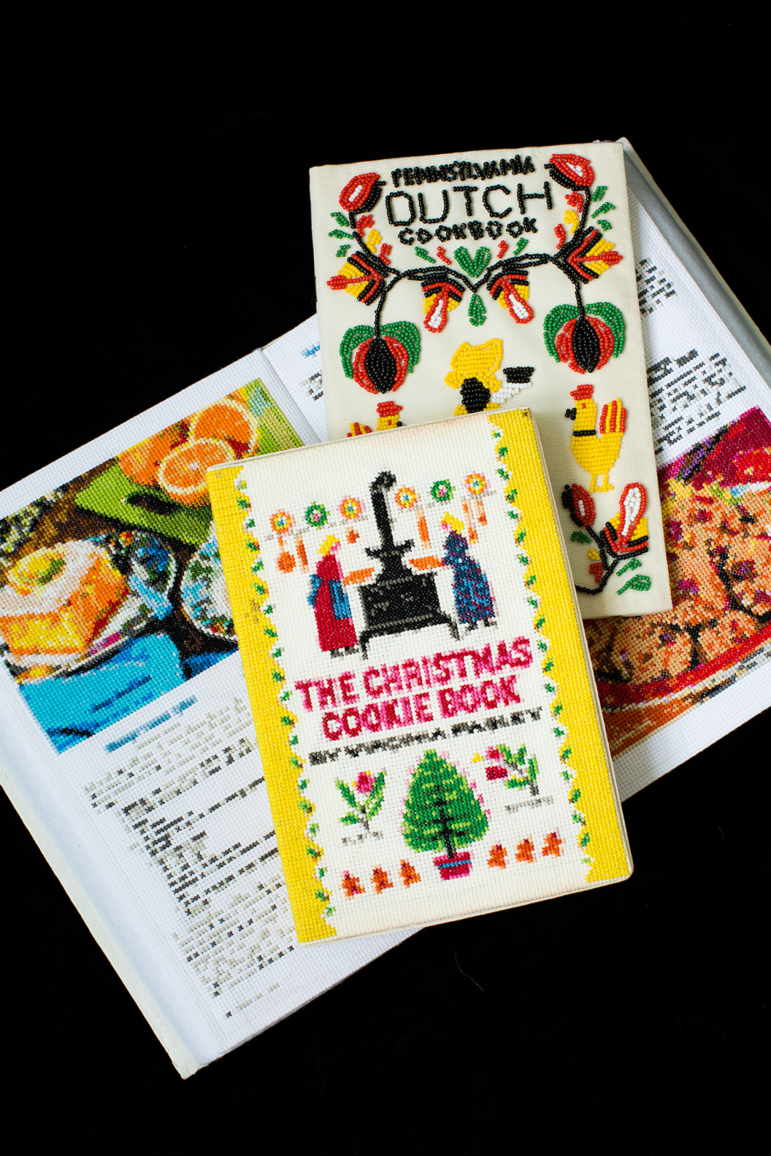 """Gray, """"Lutheran Church Cookbook, Pages 82 and 83; The Christmas Cookie Book; Pennsylvania Dutch Cookbook"""" (from the """"Things Grandma Gave Me"""" series), mixed media (needlepoint and beading), varied, 2018"""