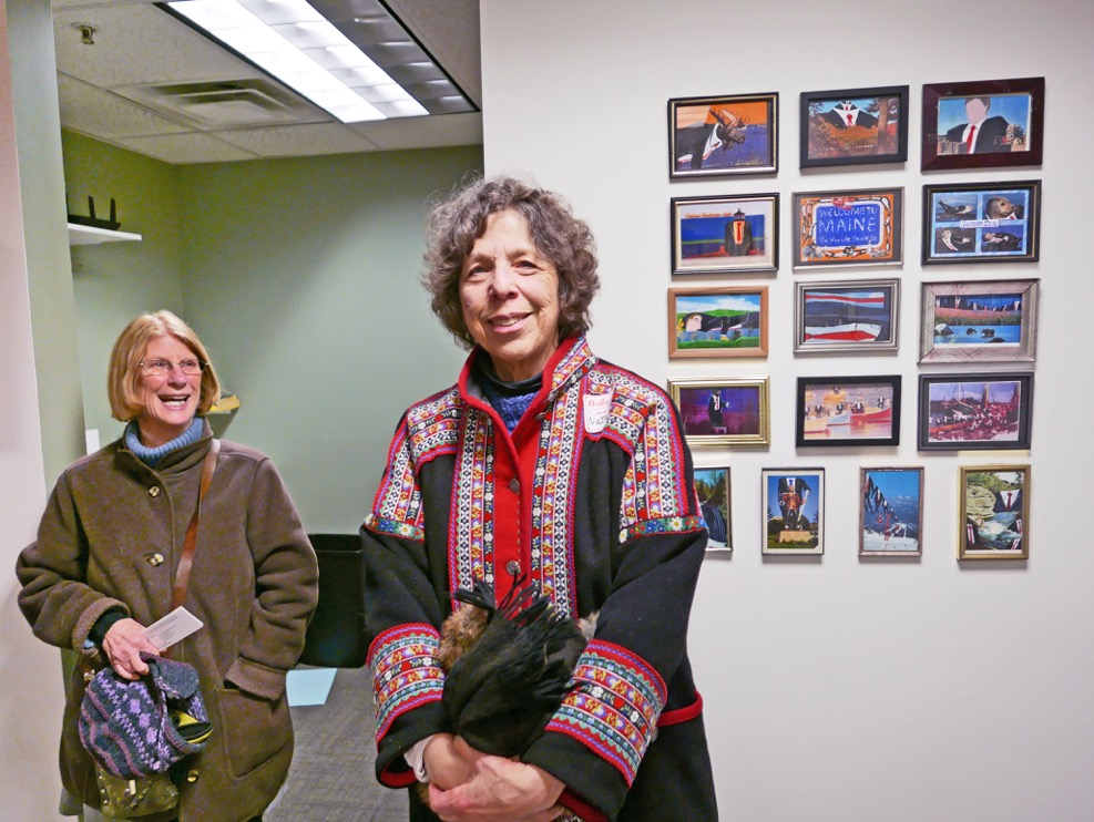 """UMVA Gallery opening """"The Way Life Is – Maine Working Families and Communities"""", Betsy Sholl and Natasha Mayers; photo by David Wade"""