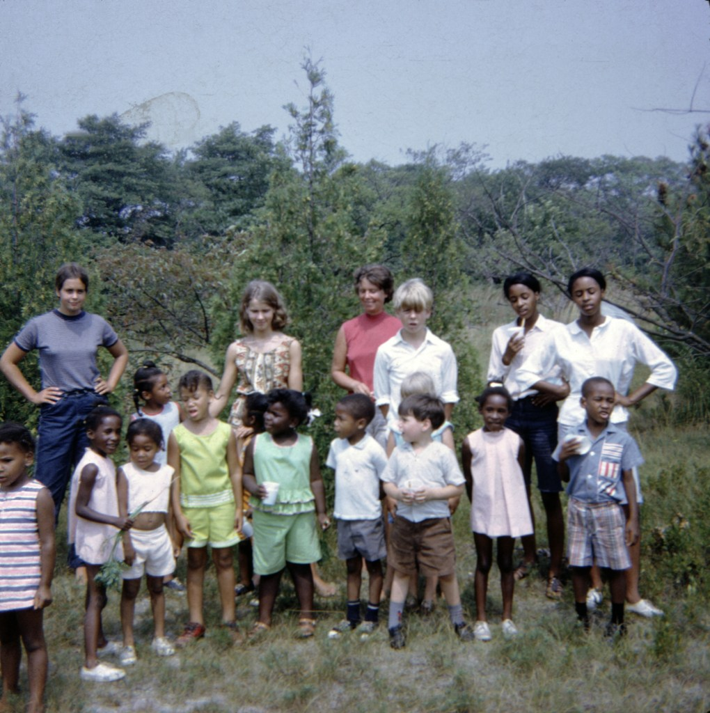 My mother's summer camp in Water Mill. Left to right: sisters Lucy and Liza Little, my mother, Patsy Little, me, Dorothy and Diana Davis, and the campers. Photo by Jack Little