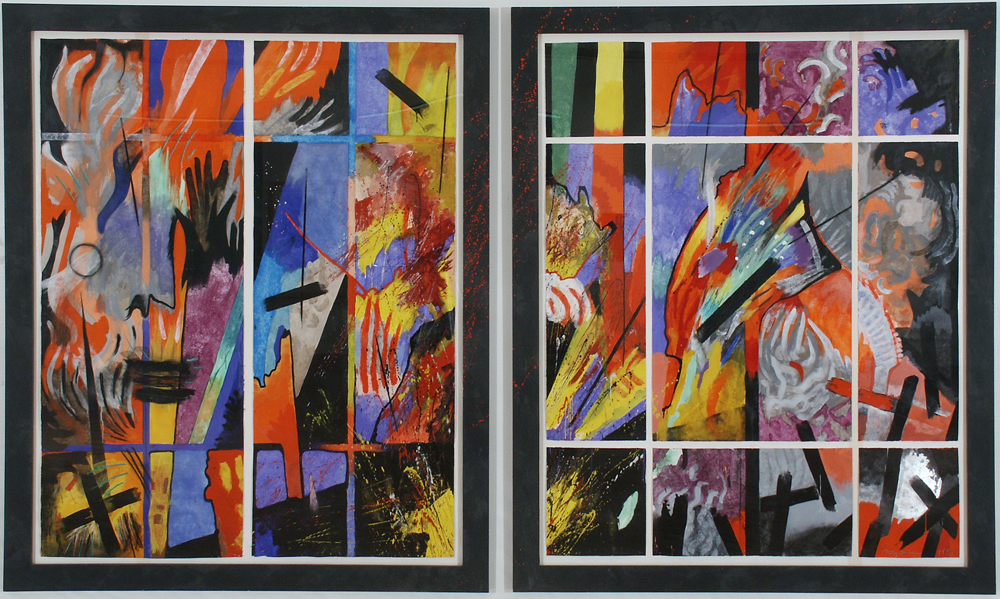 """Abby Shahn, Oil Fires. egg tempera and encaustic on paper, 10'4""""x 6'5"""",1991-2"""
