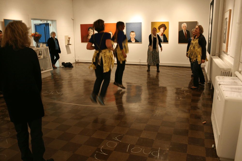 JUMP: War, created and performed by Asherah Cinnamon, Stefanie Loeb, Nina Petrochko, Martha Piscuskas (in gallery with The War on Peace: Robert Shetterly and Alan Magee) at Waterfall Arts, Belfast, 2012.