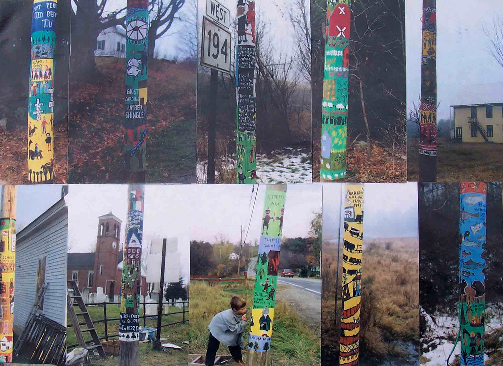 Natasha Mayers, Painted poles of Whitefield, 4th-5th graders paint the history of the town,1993-1994