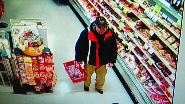 The surveillance photo released by Old Town Police showing David Bileau on Jan. 28.