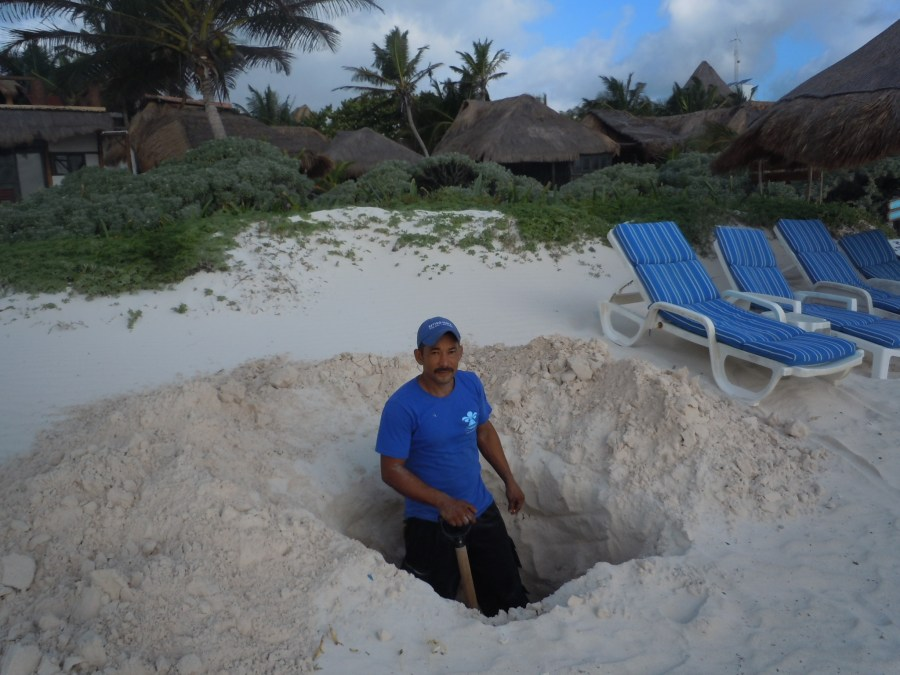 Tulum, Mexico, hole digging