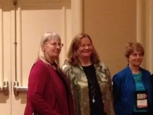 Barb Ross and Kathy Lynn Emerson at the Malice banquet