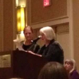 Dorothy Cannell and Margaret Maron at the banquet