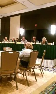 True crime panel with Margaret McLean, author of Whitey on Trial,  PI John DiNatale, author of The Family Business, Deborah Halber, author of The Skeleton Crew, Eric Rickstadt, author of The Silent Girls, and Michael Blanding, author of The Map Thief