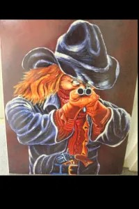 Photo of a painting given to retired game warden John Ford.