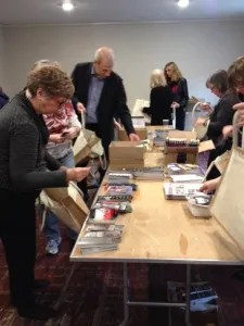 Stuffing the conference bags