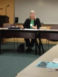 Kathy Lynn Emerson teaching a class on the traditional mystery