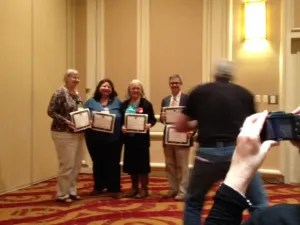 Kathy Lynn Emerson, Barb Goffman, Edith Maxwell and Art Taylor, Agatha short story nominees