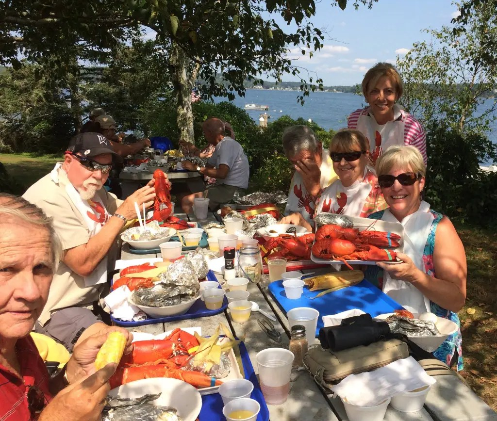 Of course, some of the cousins and friends had to go to the Cabbage Island Clambake, inspiration for my Maine Clambake Mystery novels.
