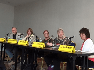 Panel on historical mysteries with James R. Benn, Mary Lawrence, Dorothy Cannell, Kathy Lynn Emerson and moderator Leslie Budewitz,