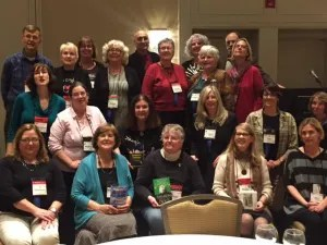 That's me, second row, in pink, with the other 2015 debut novelists at last year's Crime Bake. Brenda Buchanan is two to my left, in the red sweater.